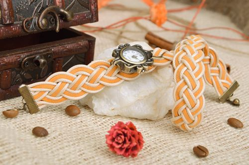 Beautiful watch with double wrap woven strap of yellow color - MADEheart.com