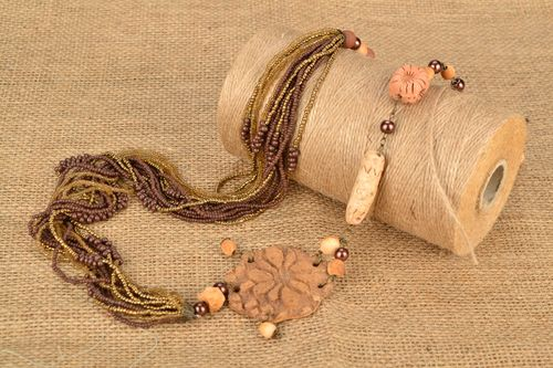 Necklace made of natural clay and beads - MADEheart.com