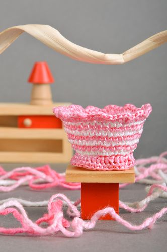 Handmade Easter egg stand crocheted of plastic threads in pink and white colors - MADEheart.com