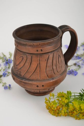 Beautiful design handmade clay beer mug kilned with the use of milk 700 ml - MADEheart.com