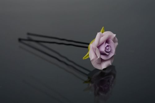 Cold porcelain hair pin Violet Rose - MADEheart.com