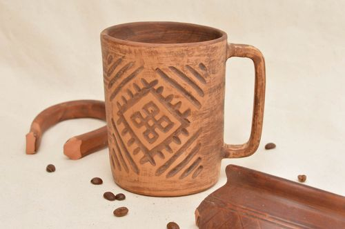 Clay cup handmade ceramic mug kitchen pottery interesting decor ideas for home - MADEheart.com