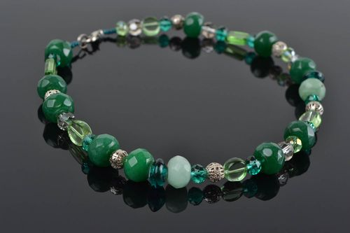 Unusual beautiful thin handmade glass bead necklace with natural stone green - MADEheart.com