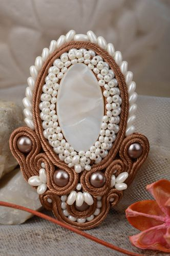 Beautiful handmade womens vintage soutache brooch with beads - MADEheart.com