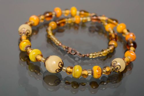 Handmade lampwork glass bead necklace Yellow Motives - MADEheart.com
