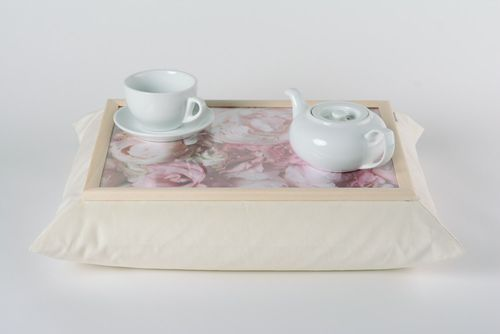White handmade tray cushion made of velvet and acrylic fabric interior accessory - MADEheart.com