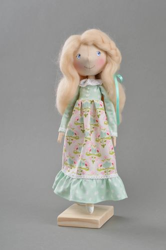 Designer interior doll is sewn of fabric manually with stand Dandelion - MADEheart.com