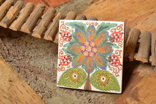 Handmade decorative ceramic tile painted with engobes with colorful flower image - MADEheart.com