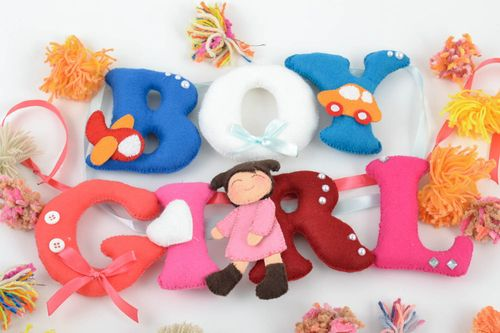 Set of 2 handmade decorative bright felt fabric soft toy letterings GIRL BOY - MADEheart.com