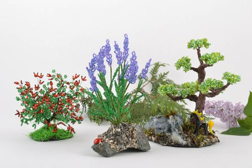 Set of handmade beaded wire bonsai tree bush and flowers for home decor 3 items - MADEheart.com