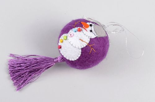Handmade Christmas ornament soft Christmas ball wool felting good Christmas gift - MADEheart.com