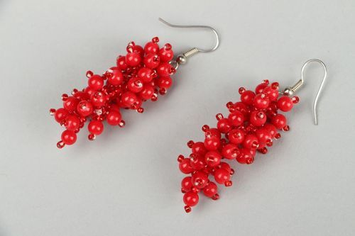 Earrings with coral and beads - MADEheart.com