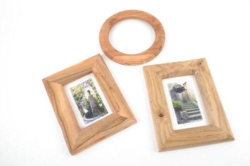Set of frames for photos made of wood handmade accessories in eco style 3 pieces - MADEheart.com