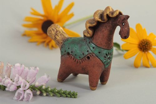 Handmade whistle made of clay stylish eco toy unusual music toy horse - MADEheart.com