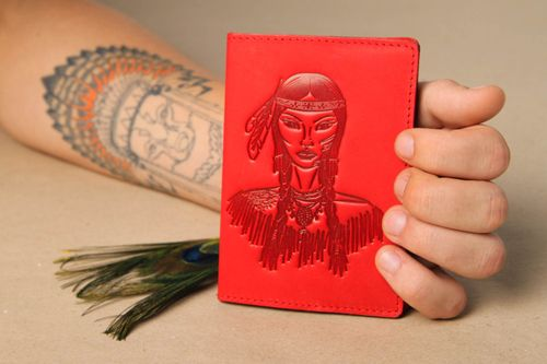 Red handmade passport cover unusual leather passport cover small gifts - MADEheart.com