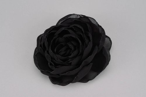 Black brooch hairpin in the shape of a flower - MADEheart.com