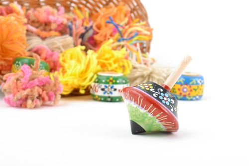 Small beautiful childrens handmade wooden toy painted spinning top - MADEheart.com