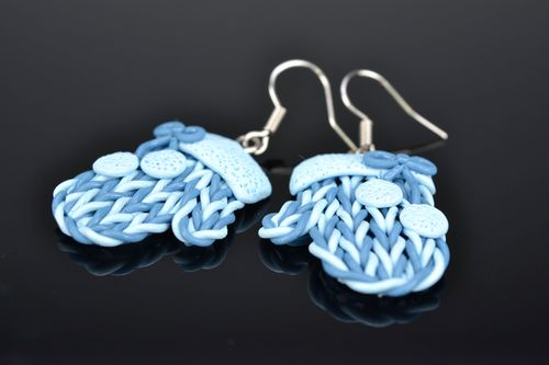 Polymer clay earrings Blue Mittens - MADEheart.com
