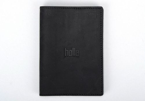 Leather passport cover black - MADEheart.com