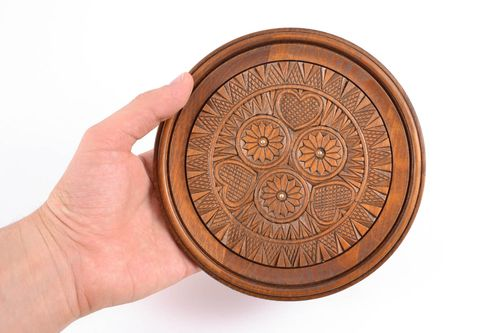 Carved wooden plate inlaid with metal inserts - MADEheart.com