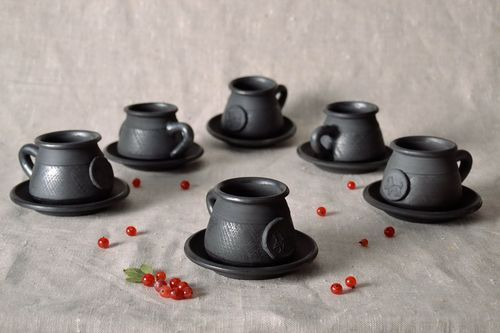 Set of clay cups with saucers - MADEheart.com