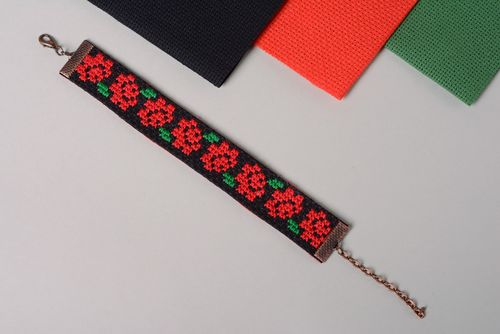Black wrist bracelet with handmade contrast ethnic cross stitch embroidery for women - MADEheart.com