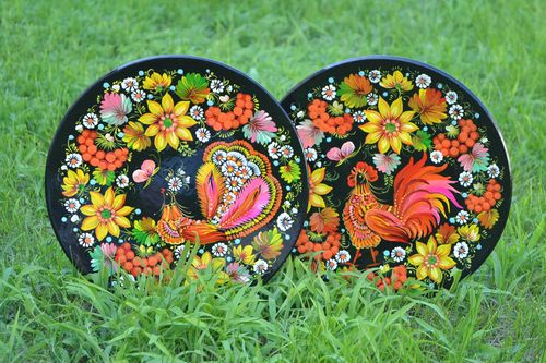 Set of 2 handmade decorative wall plates painted wooden plates gift ideas - MADEheart.com
