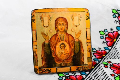 Handmade icon wooden icon of Mother of God designer icon orthodox icon - MADEheart.com