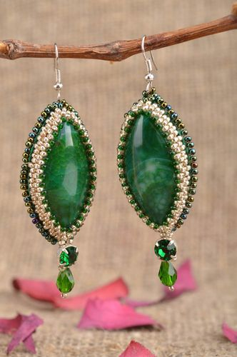 Handmade designer womens long beaded earrings with green agate - MADEheart.com