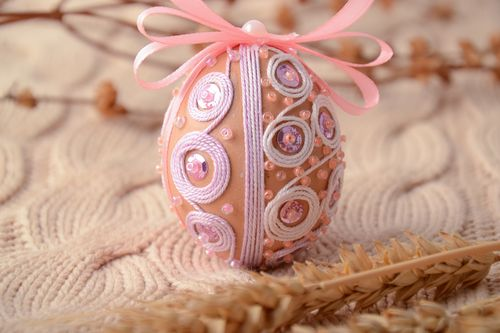 Interior hanging egg with beads and ribbon - MADEheart.com