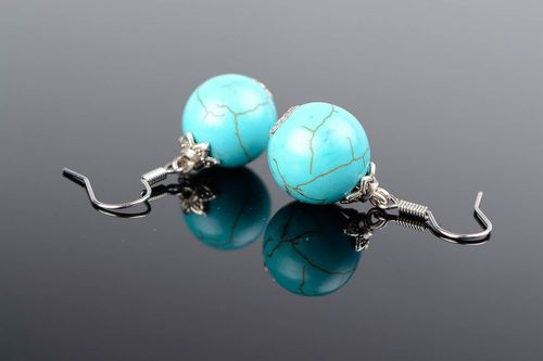 Earrings made of turquoise with Czech crystal - MADEheart.com