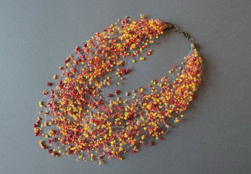Crochet bead necklace with a fishing line - MADEheart.com