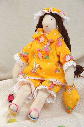 Handmade designer small soft doll sewn of cotton and satin fabric with two braids - MADEheart.com