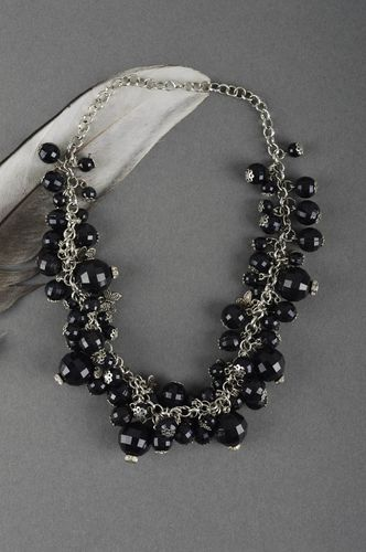 Handmade total black beaded necklace stylish designer accessory present for girl - MADEheart.com