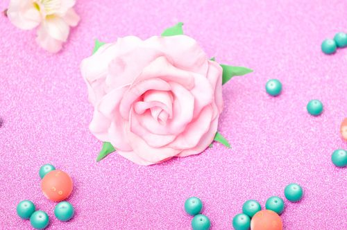 Handmade hairpin with flower foamiran hairpin hair accessories for women - MADEheart.com
