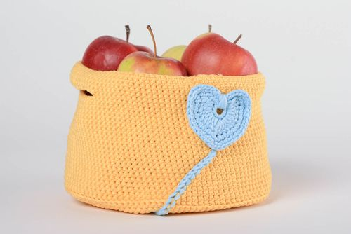 Handmade decorative small orange crochet basket with blue heart decor and handles - MADEheart.com
