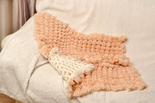 Handmade soft warm baby blanket woven of beige woolen and acrylic threads - MADEheart.com