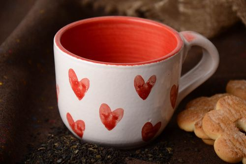 Handmade ceramic cup painted with glaze and enamel 400 ml - MADEheart.com