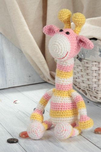 Soft stuffed toy for children textile crocheted doll giraffe interior present - MADEheart.com