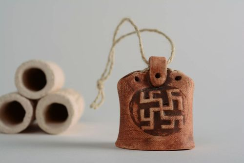 Home amulet bell made of clay Fern Flower - MADEheart.com
