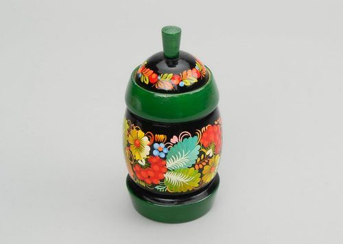 Container for dry goods with green rim (small)  - MADEheart.com