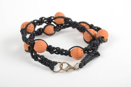Stylish handmade ceramic bracelet woven bracelet with clay beads gifts fo her - MADEheart.com