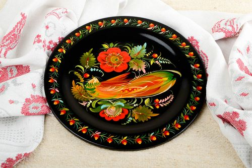 Handmade ethnic plate wooden wall plate modern designs decorative use only - MADEheart.com