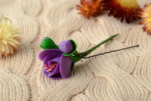 Handmade tender decorative hair pin with cold porcelain violet flower  - MADEheart.com