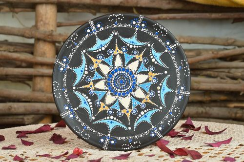 Ceramic designer decorative plate with pattern handcrafted wall panel  - MADEheart.com