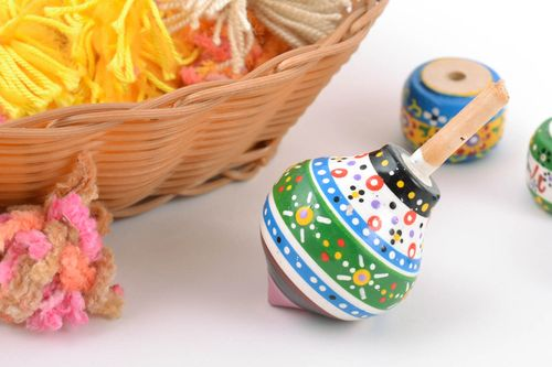 Bright striped eco painted wooden toy spinning top hand made - MADEheart.com