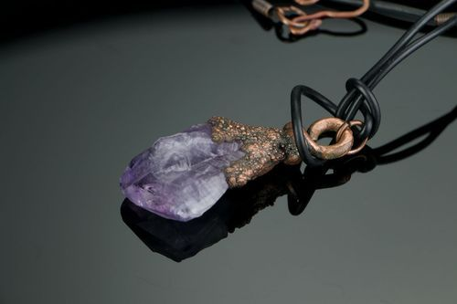 Copper pendant with amethyst - MADEheart.com