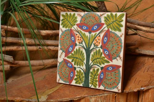 Handmade decorative square ceramic facing tile painted with engobes with flowers - MADEheart.com