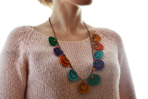 Beautiful handmade leather necklace with charms with colorful gems  - MADEheart.com