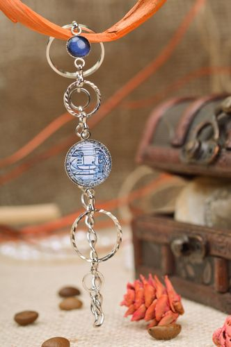 Beautiful handmade metal chain bracelet with blue elements City on the Seaside - MADEheart.com